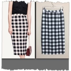 Who What Where Black & White Check Pencil Skirt